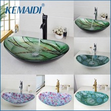 KEMAIDI New Bathroom Basin Tap Washbasin Tempered Glass Mixer Hand-Painted  Bath Brass Set Bathroom Vessel Faucet ORB Black Taps