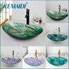 KEMAIDI New Bathroom Basin Tap Washbasin Tempered Glass Mixer Hand Painted Bath Brass Set Bathroom Vessel