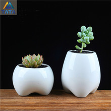 TARTADECO Free Shipping Kawaii Mini Traditional Chinese Ceramic Flower Pot Vase Succulent Plants Circular Bonsai Planter