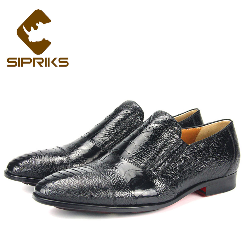 Men's Shoes Efficient Sipriks Luxury Brand Mens Ostrich Skin Leather Dress Shoes Slip On Church Shoes Pointed Gents Suits Social Formal Tuxedo Shoes Formal Shoes