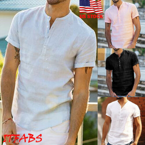 UK Men's Linen Short Sleeve Summer Solid Shirts Casual Loose Shirts  Soft Tops Tee