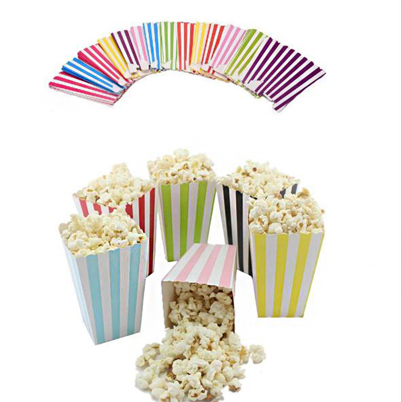 6pcslot colorful chevron paper popcorn boxes pop corn favor bags for candy snack wedding decor birthday party supplies