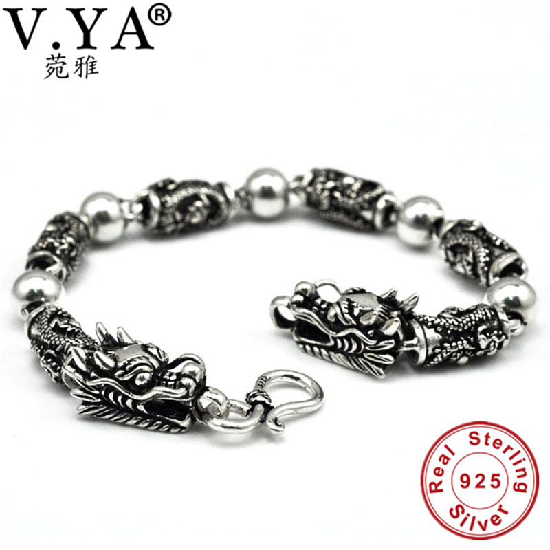 100% réel pur 925 argent hommes bracelet en gros véritable fine double dragon tête bracelet livraison gratuite hommes bijoux HYB16