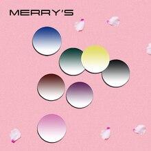 MERRYS renkli boyama serisi 1.56 1.61 1.67 reçete CR 39 reçine optik gözlük lensler miyopi hipermetrop güneş gözlüğü Lens