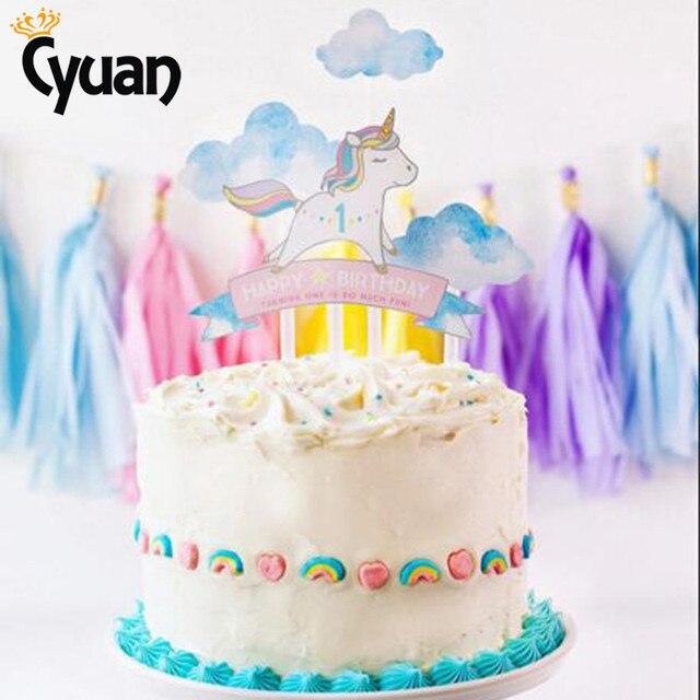 Cyuan 4 Stucke Einhorn Kuchen Topper Madchen Jungen Glucklich