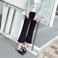 Kesebi 2017 Summer New Hot Fashion Female Casual Ankle-length Bottoms Trousers Women High-waisted Black Flare Pants JE220#8520
