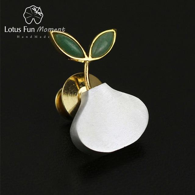 לוטוס כיף רגע אמיתי 925 כסף סטרלינג טבעי בעבודת יד תכשיטים חמוד אביב באוויר נשים סיכות Broche פין