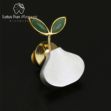 Lotus Fun Moment Real 925 Sterling Silver Natural Handmade Fashion Jewelry Cute Spring in the Air Women Brooches Broche Pin