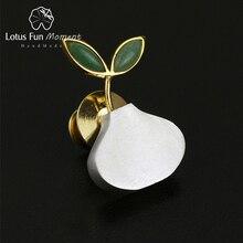Lotus eğlenceli Moment gerçek 925 ayar gümüş doğal el yapımı moda takı sevimli bahar hava kadın broş broş Pin