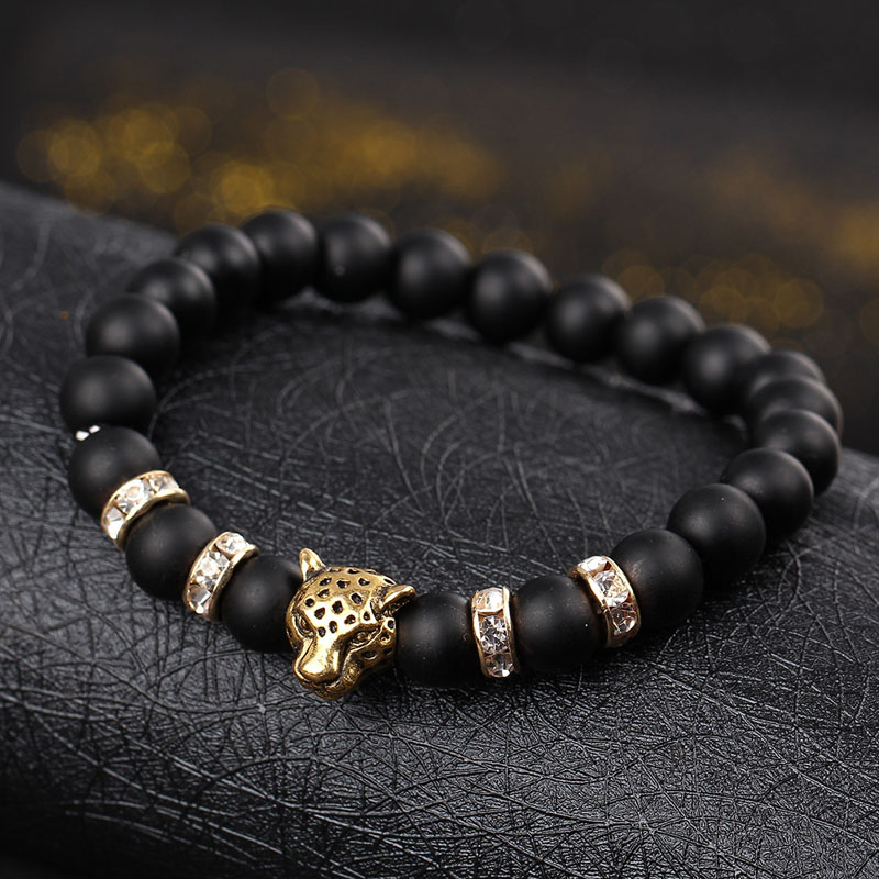 Natural stone Beads men bracelets Lucky Charm Matte Black Natural stone Beads Onyx Stone Matt Tiger Leopard Bracelets for men