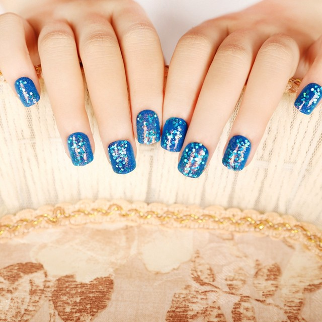 Online shop 24pcskit blingbling dark blue pre designed nail tips 24pcskit blingbling dark blue pre designed nail tips short square fake acrylic nails with sequins decorations z146 prinsesfo Image collections