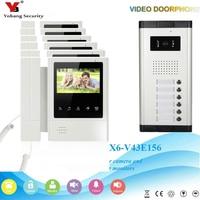 Yobang Security Visual Home Video Intercom 4.3 Inch Video Doorbell Door Phone Unlock Intercom Speakephone System 6 Apartment