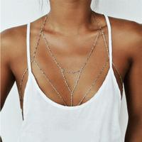Gold Silver Chain Bra Beach Bikini Necklaces Body Jewelry 3