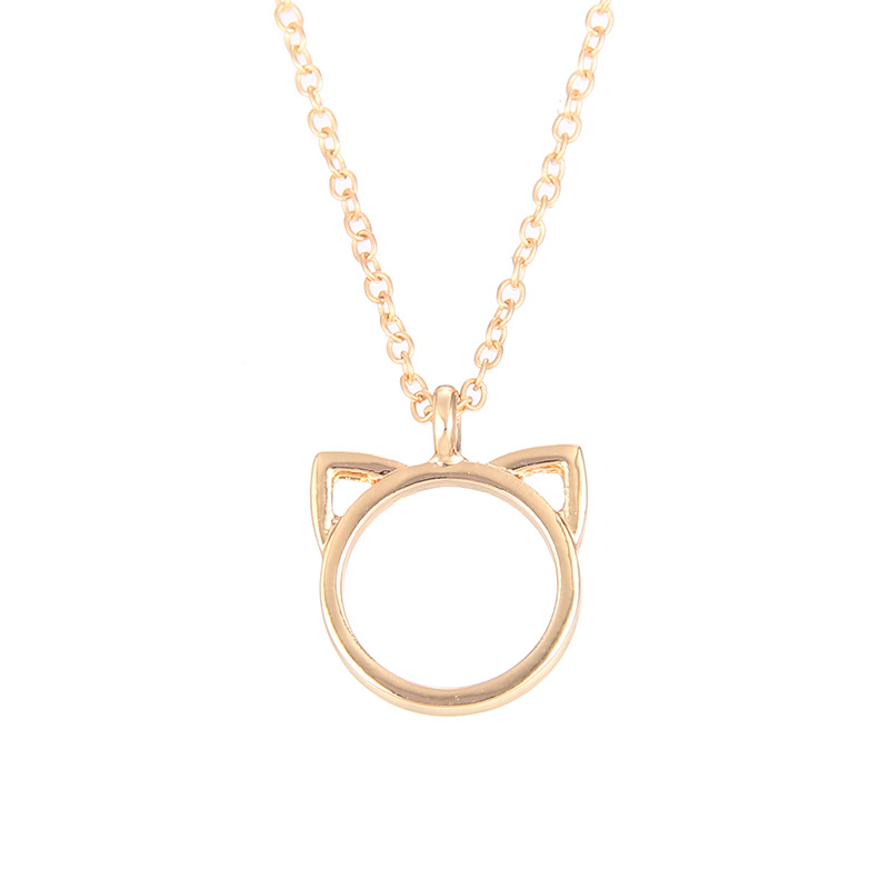 Cat Face Outline Pendant Necklace