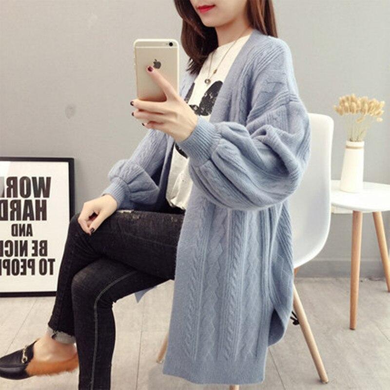 Women\`s Knit Cardigan Fashion Loose Korean Sweater Autumn Winter Twist Sweater Jacket 2019 New Lantern Sleeve Knit Cardigan (1)