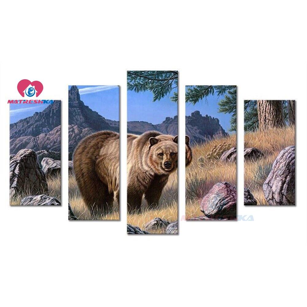 5pcs DIY Multi-painting 5d Diamond painting animal full drill Cross stitch kits triptych Bear Diamond mosaic sale accessories