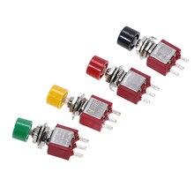 5 Pcs 3Pin C NO NC 6mm מיני רגעי החזרה אוטומטית לדחוף כפתור מתג על (על) 2A 250VAC/5A 120VAC Toggle מתגי