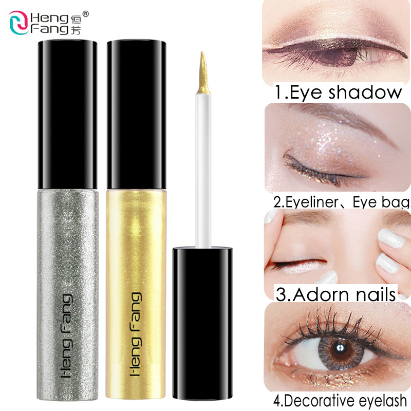 HENGFANG Liquid Eye Shadow & Liner Mixture Eyes Make-up Silver Gold Sombra Maquillage Yeux Glitter Eyeshadow Liquid Eyeliner Eye Shadow & Liner Mixture, Low cost Eye Shadow & Liner...
