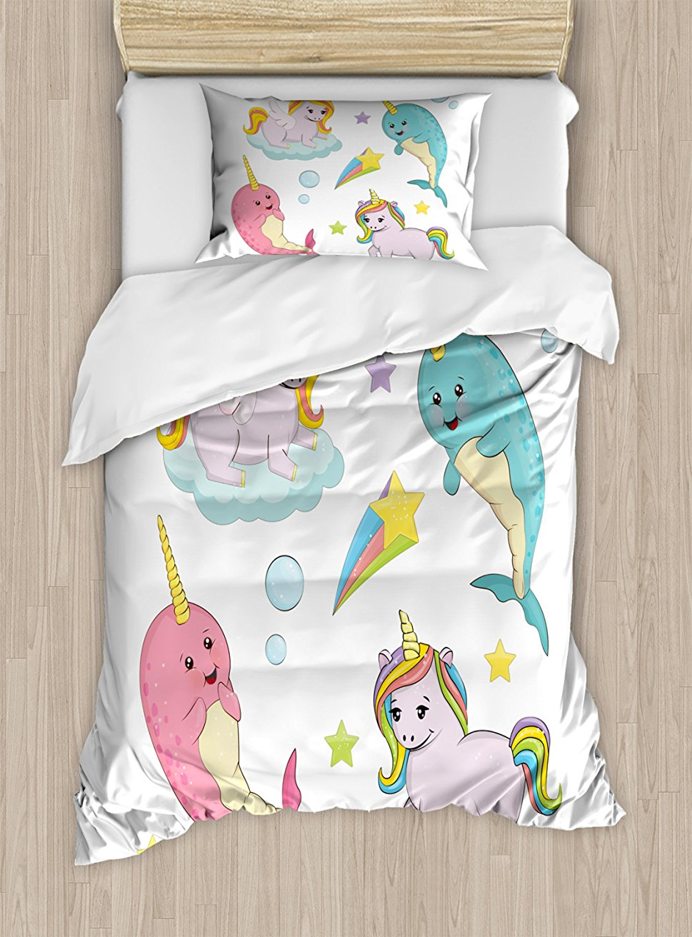 Narwhal Duvet Cover Set Rainbow Colored Unicorns of the Land and Ocean Girly Illustration Colorful Cartoon Decor Bedding Set