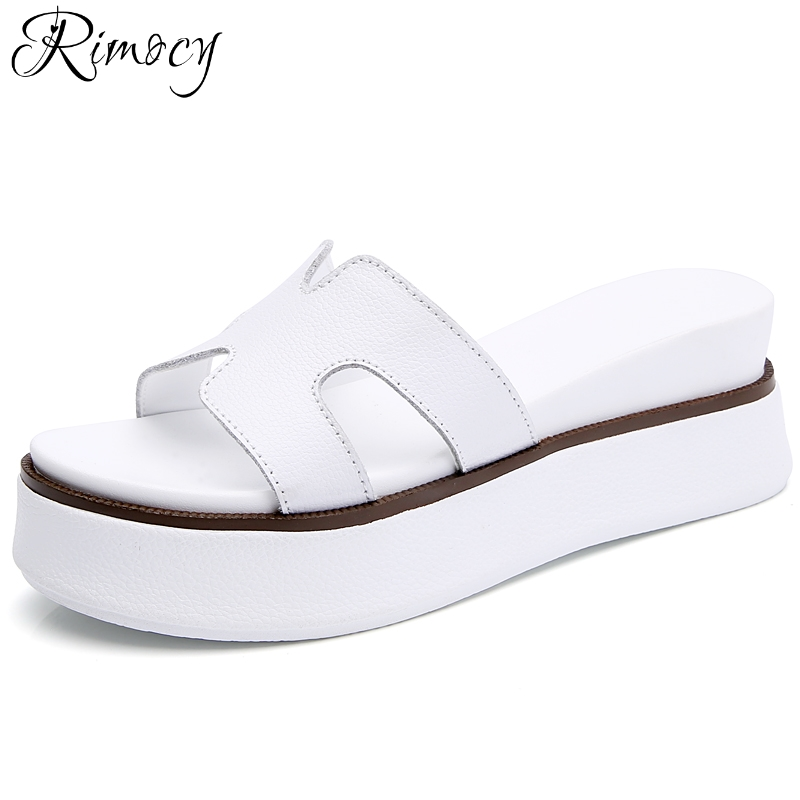 Rimocy 2018 Summer Woman Beach Flip Flops Sandals Comfortable Platform Wedges Heels Slides Genuine Leather Flats Shoes Woman 6cm high heels women slides ladies slippers sandals flips flops 2018 summer beach platform shoes woman fashion comfortable flats page 4