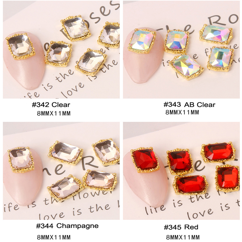 MLP 100pcs 3D Nail Crystals Rhinestone AB Charms Square Nail Gems Nail Art Decoration Manicure Accessories Nail Shiny Crystal P8 in Rhinestones Decorations from Beauty Health