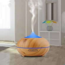300ml Household Wood Grain Ultrasonic Humidifier Cool Mist Whisper-Quiet Aromatherapy Essential Oil Aroma Diffuser with LED Lamp