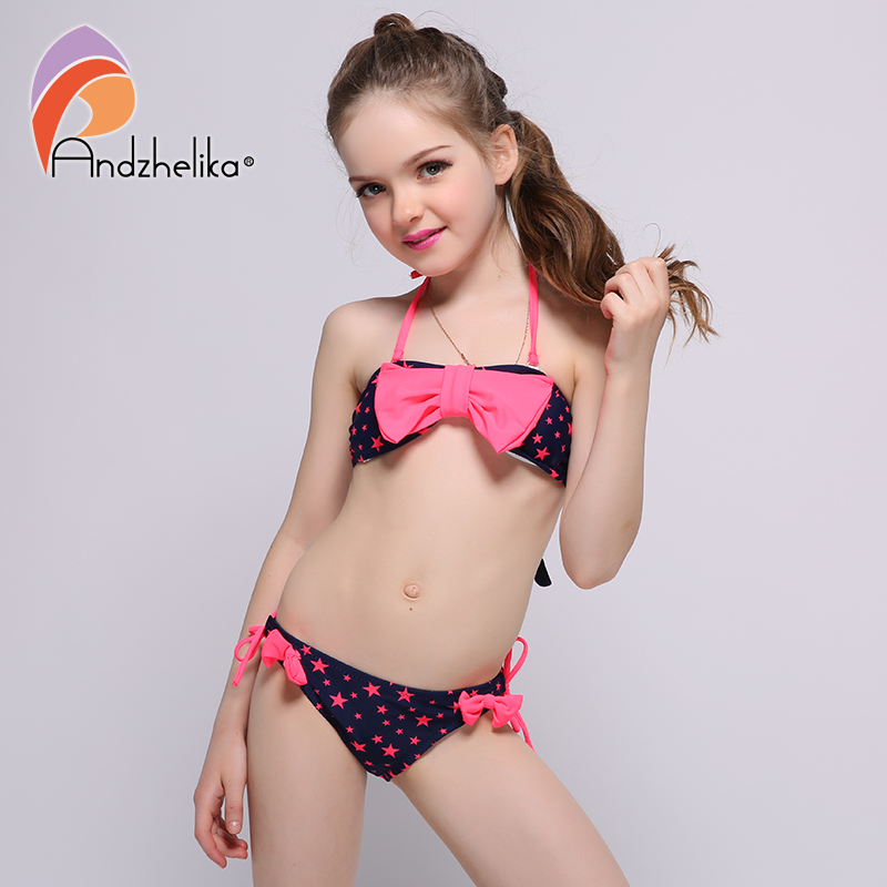 Andzhelika Summer 2017 New  Swim Suit For Girl Swimwear Five-pointed star print Big bow Children's Swimwear Bikini Set AK6832 star island summer