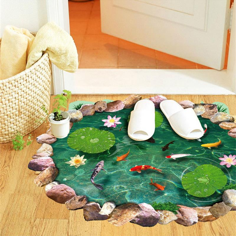 % 3d lotus fish water pool through the floor stickers room decor home decals pvc pastoral mural wall art pastoral poster Lotus