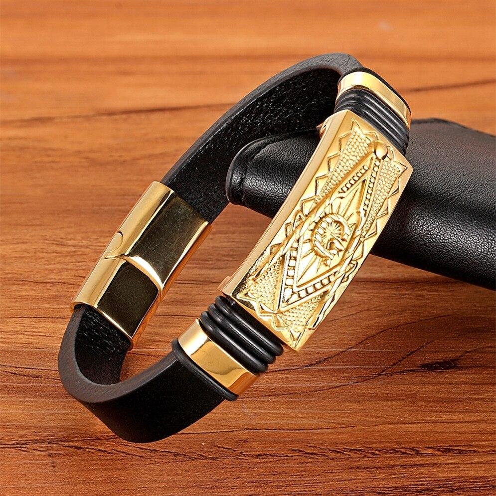 e68c2c7dbe46 XQNI de cuero genuino pulsera de Color oro fácil gancho  tótem geométrica escorpión patrón joyería de lujo para cumpleaños bendición  regalo