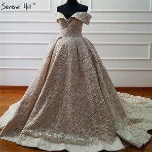 Image 3 - דובאי חדש מרוכבים תחרה יוקרתית שמלת 2020 כבוי כתף סקסי יוקרה Sparkle כלה שמלת תמונה אמיתית HA2163