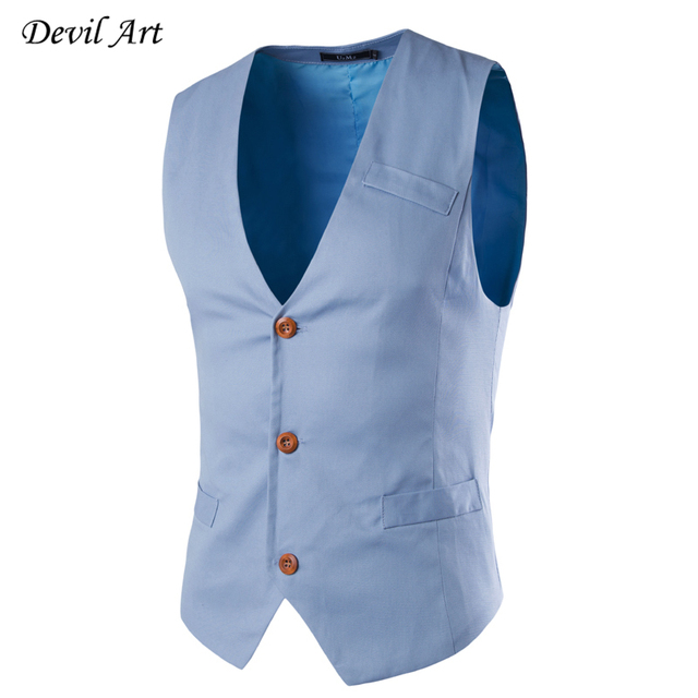 Nueva Moda de Un Solo Pecho Slim Fit Chaleco Hombre Chaleco de Algodón Sin Mangas Chaleco de Traje Para Hombre de Negocios Vestido de Chaleco