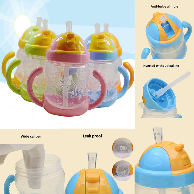 280ml Baby Boy Girls Feeding Bottle With Handle Kids Cute Straw Cup Children Learn Feeding Drinking Water Training Cup