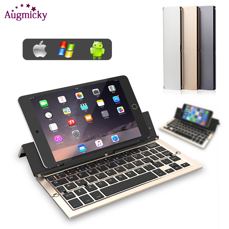 2019 Aluminum Alloy Portable Quartic Folding Bluetooth 3 0 Keyboard BT Mini Keyboard for IOS Android