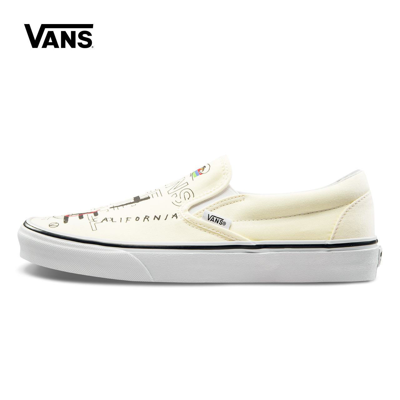 Original New Arrival Vans Mens & Womens Classic Slip-On Low-top Skateboarding Shoes Sneakers Canvas Comfortable VN0A38F7RA3 suede low top slip on sneakers