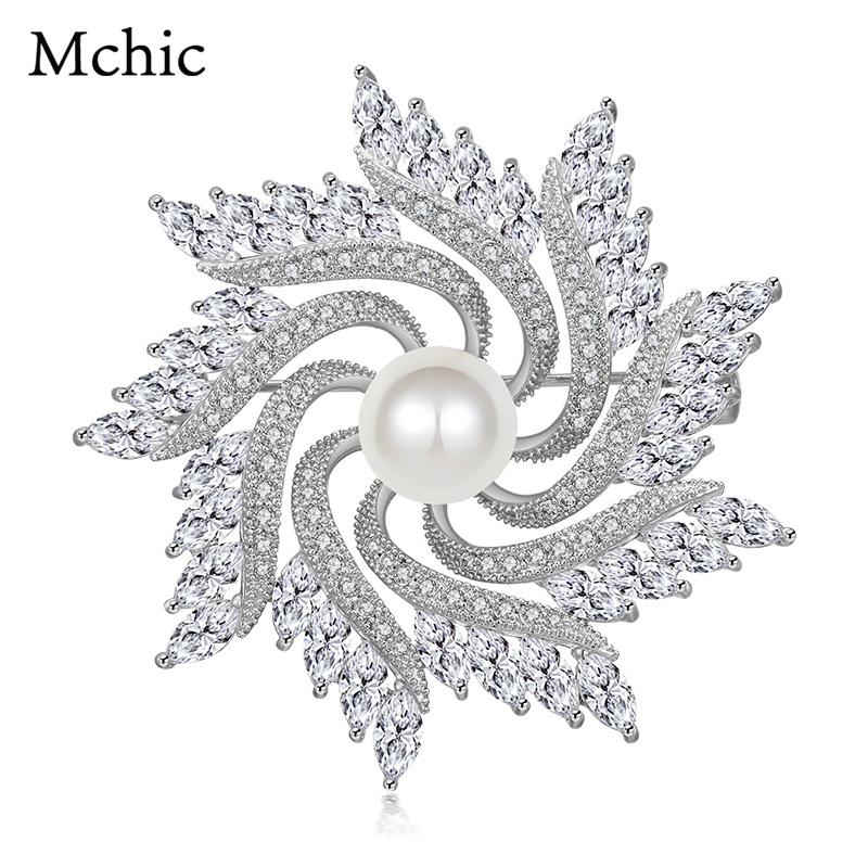 Mchic Sun Flowers Fashion Plant Cubic Zirconia Crystal Pearl Copper Brooches Pin Corsage For Women Wedding Party Bling Gift