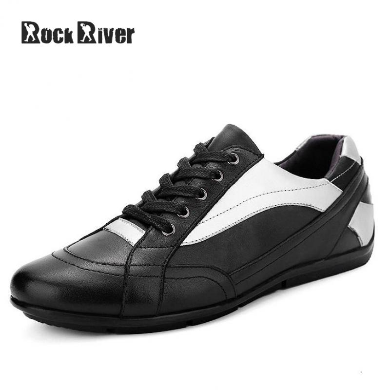 Rock River Luxury Brand Genuine Leather Men Shoes Moccasins Lace-up Cow Leather Mens Shoes Casual High Quality Big Size 38-47 genuine leather baby shoes lace up toddler baby moccasins mixed colors boys shoes first walkers free shipping