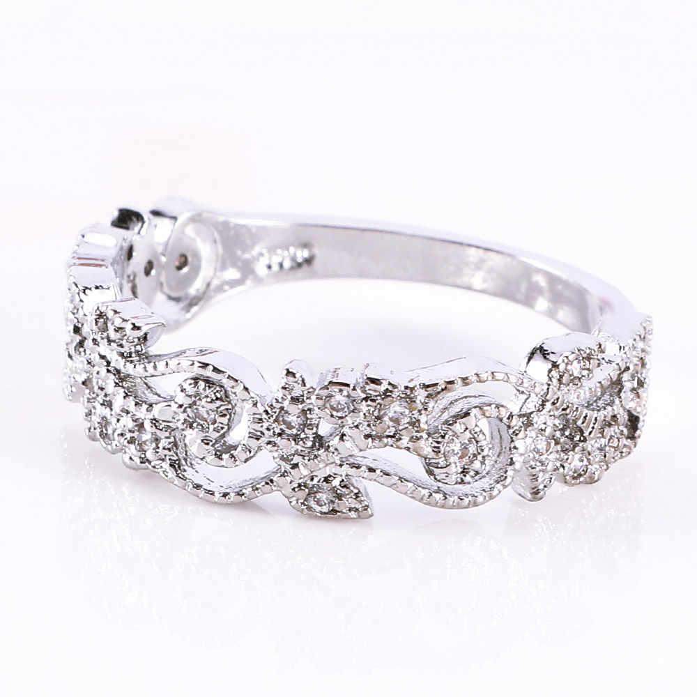 ประณีต Hollow ดอกไม้คริสตัลและสีม่วง Criss Cross แหวน Unfading เงินสีม่วงสำหรับผู้หญิง