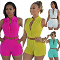 2016 Women Summer Casual Romper Jumpsuit Playsuit With Pockets European and American Fashion Ladies Slim Casual Shorts Jumpsuit