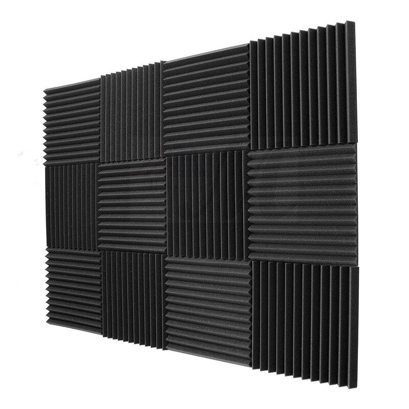 12 pacote-painéis acústicos espuma engenharia esponja cunhas painéis de isolamento acústico 1 polegada x 12 polegada x 12 polegada
