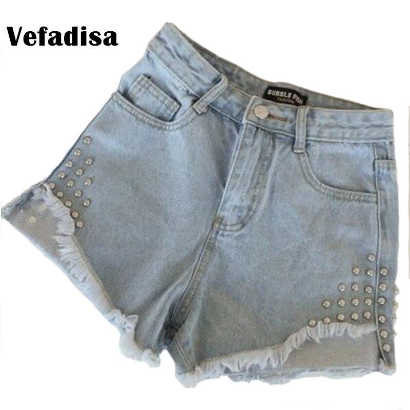 Vefadisa 20 Style Summer Korean Jeans Woman Thin High Waist Casual Cowboy Shorts Woman Summer Joker Holes Tight Pants Tide AL307