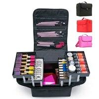 Fashion Women Makeup Organizer Large Capacity Multilayer Clapboard Cosmetic Bag Case Beauty Salon Tattoos Nail Art