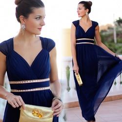 Длинное вечернее платье большого размера EB27968 2020, недорогое шифоновое вечернее платье с рюшами и бусинами