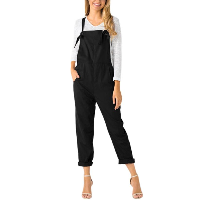 desire #50 Women Loose Dungarees Loose Long Pockets Rompers Jumpsuit Pants Trousers