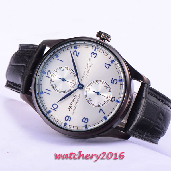 лучшая цена 2017 New 43mm parnis silver dial leather strap ST 2542 mens watches military army Automatic Power Reserve movement Mens Watch