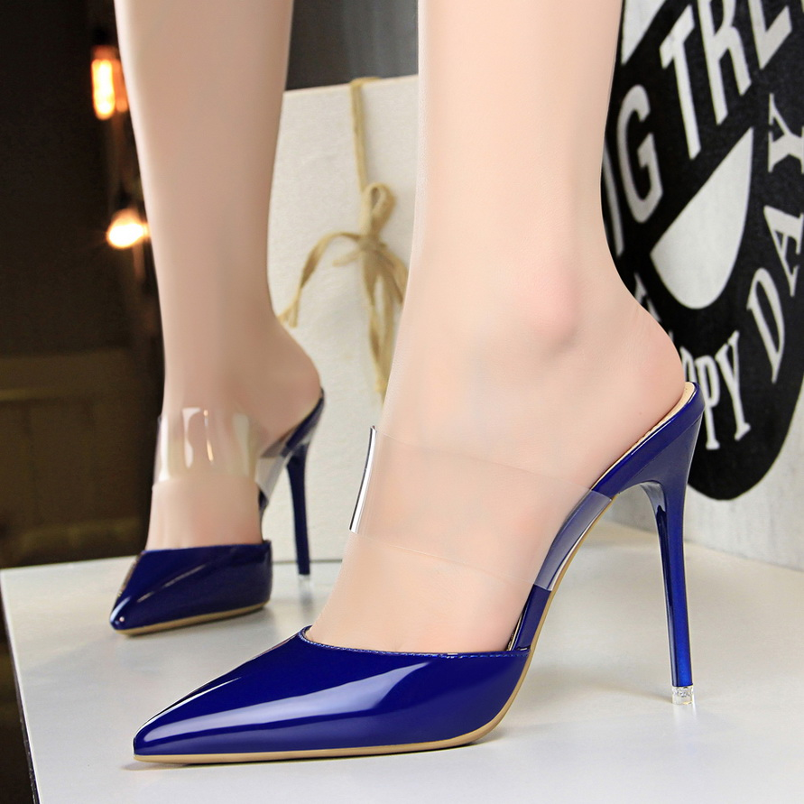 Sexy Women High Heel Sandals 2019 Summer Fashion Pointed Shallow Ladies High heeled Slippers Transparent Lace Party Women Pumps in High Heels from Shoes