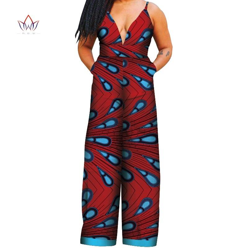 2019 Afrikaanse Stijl Vrouwen Jumpsuit Prive Custom Mouwloze Enkellange Brede Been Jumpsuit 100% Puur Katoen Wy4287 Hoog Gepolijst