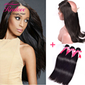 Top Peruvian Virgin Hair 3 Bundles With Frontal Closure 360 Lace Frontal Closure With Adjustable Straps With Human Hair Bundles