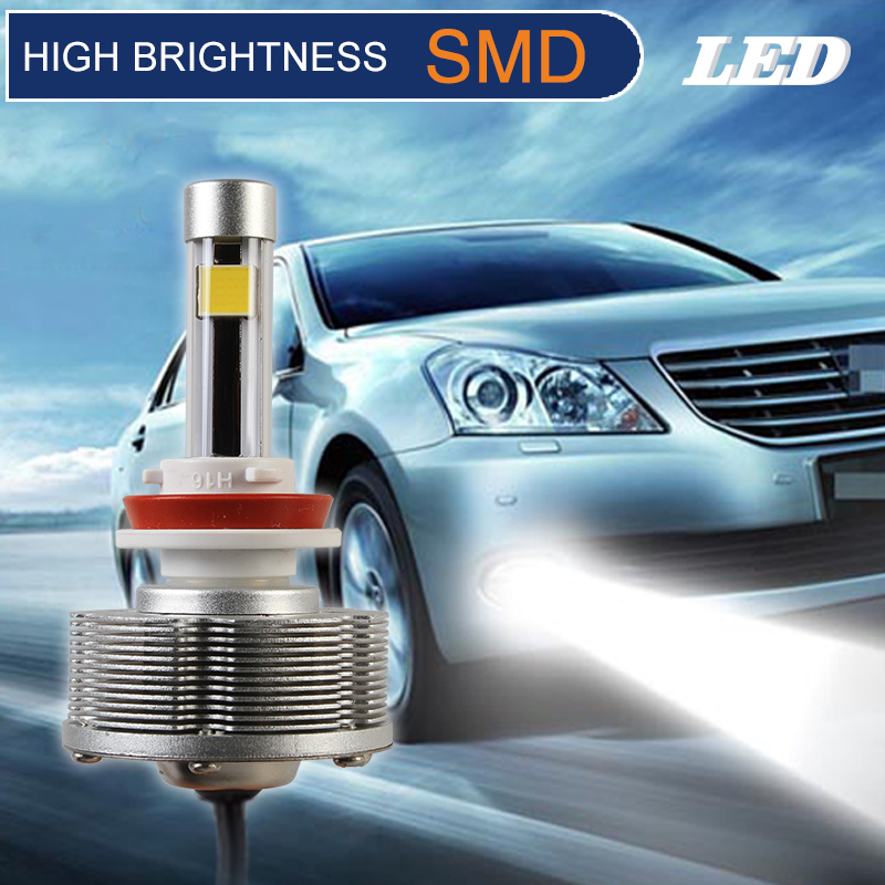 H8 LED Fog Lamps LED  Auto High Quality Easy Install LED Cars Bulbs High Brightness 2400LM 2SMD White Fog Light DC10V 40V