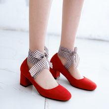 Big Size 11 12 13 14 ladies high heels women shoes woman pumps Square head, shallow mouth, thick heel and retro cross-tie(China)