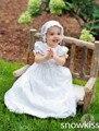 Clássico de manga curta Lace branco / marfim primeira comunhão vestidos batizado vestido batismo vestido com chapéu